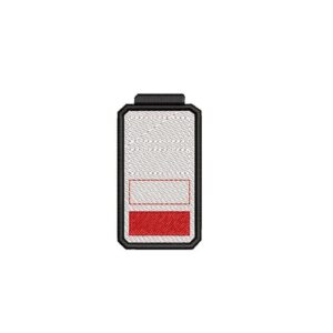 battery low, alacsony akkumulátor feszültség, felvasalható hímzett folt, felvarró, patch, foltshop