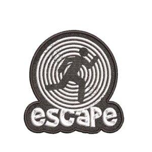 escape, exit, kilépés, kijárat, menekülés, felvasalható hímzett folt, felvarró, patch, foltshop