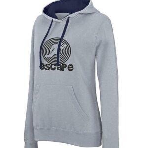hímzett kapucnis pulóver, escape, kilépés, exit, menekülés
