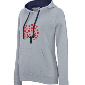 hímzett kapucnis pulóver, szív fa, heart tree, love, szeretet, szerelem