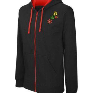 hímzett kapucnis pulóver népi motívum, virág, folk flower