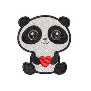 panda szív, heart, felvasalható hímzett folt, felvarró, patch, foltshop