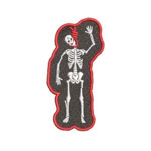 csontváz, skeleton, akasztott ember, felvasalható hímzett folt, felvarró, patch, foltshop