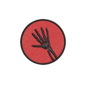 csontváz kéz, skeletal hand, felvasalható hímzett folt, felvarró, patch, foltshop