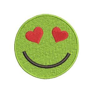 szíves szmájli, smiley heart, felvasalható hímzett folt, felvarró, patch, foltshop