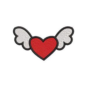 angyal szív, angel heart, elvarrható, felvasalható hímzett folt, felvarró, patch, foltshop