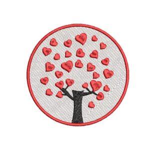 szív fa, heart tree, felvarrható, felvasalható hímzett folt, felvarró, patch, foltshop