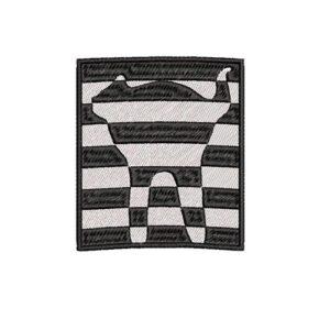 csíkos cica, striped cat, vasarely felvarrható, felvasalható hímzett folt, felvarró, patch, foltshop