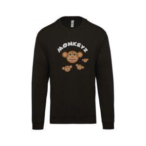 hímzett környakas gyerek pulóver, majom, majmos, állatos, monkey, animal