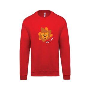 hímzett környakas gyerek pulóver, oroszlán, leo, lion, állatos, animal