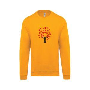 hímzett környakas gyerek pulóver, szív, fa, heart, tree, love, szeretet