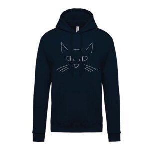 hímzett kapucnis gyerek pulóver, cica, cicás, cat, animal, állatos