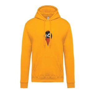 hímzett kapucnis gyerek pulóver, csőri, tweety, madár, madaras, animal, állatos