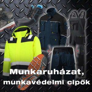 munkaruha, munkavédelmi cipő, láthatósági ruha
